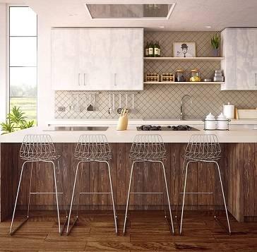 cuisine en bois avec chaise haute