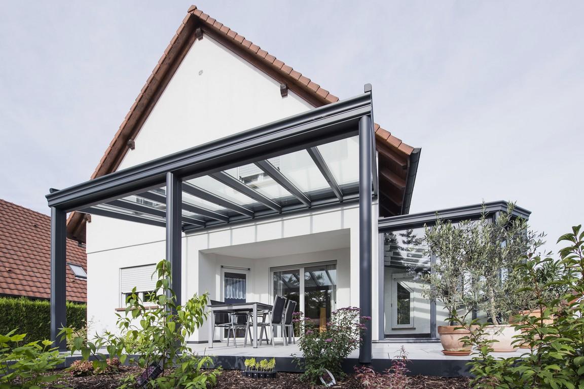 pergola toit vitré